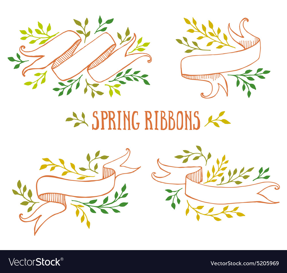 Set of color spring ribbons with leaves vector