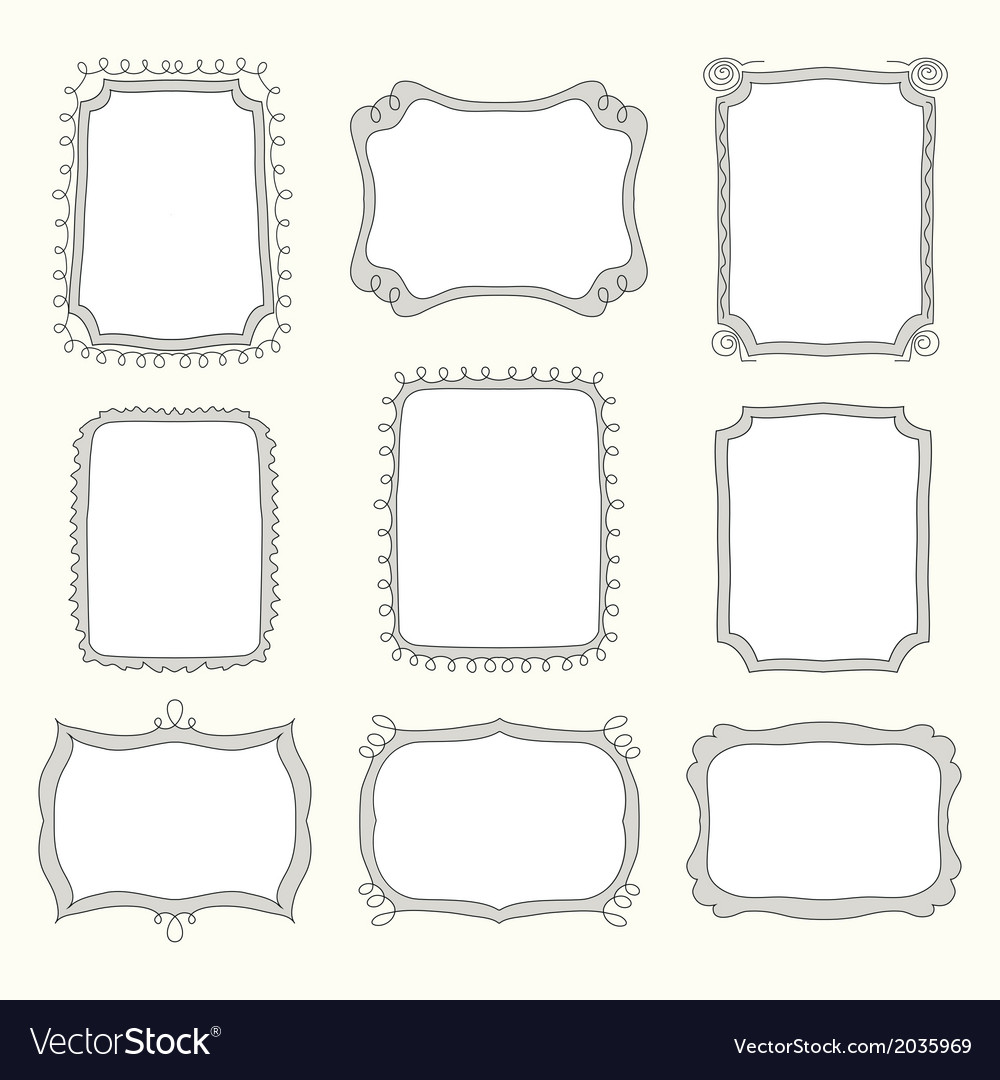 Set of doodle frames and different elements vector