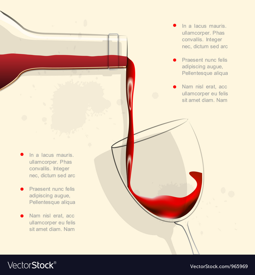 Wine pouring into wine glass vector