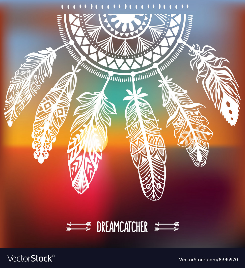 Dreamcatcher with ornament vector