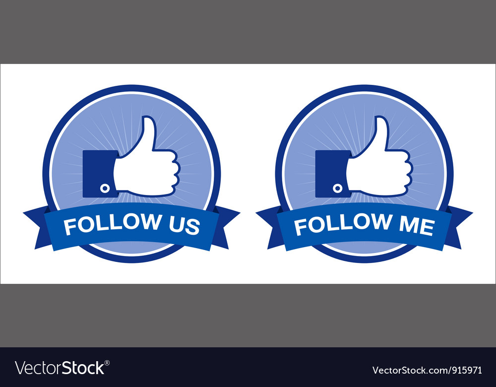 Follow me follow us retro labels vector