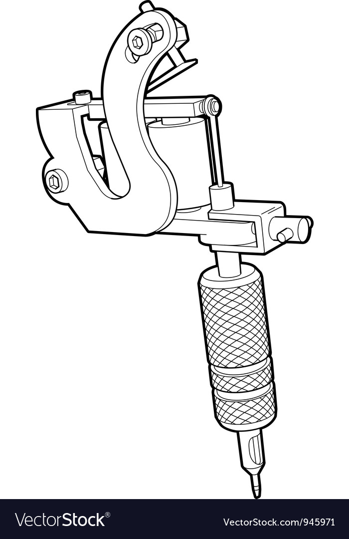 Tattoo machine in lines vector