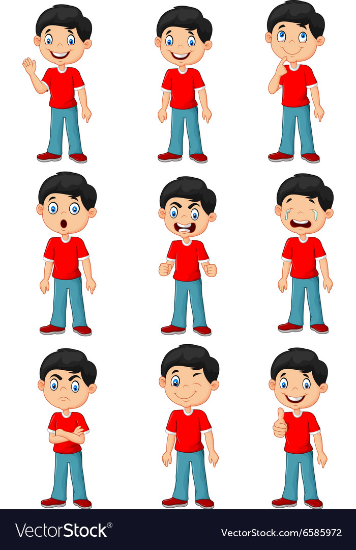 Little boy in various expression isolated vector