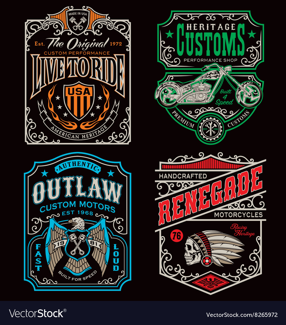 Vintage motorcycle tshirt graphic set vector