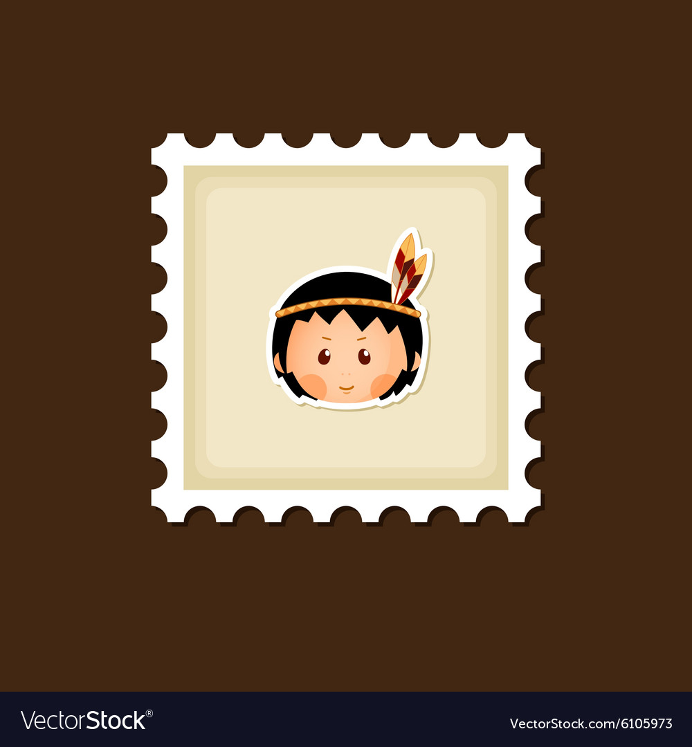American indian children stamp thanksgiving day vector