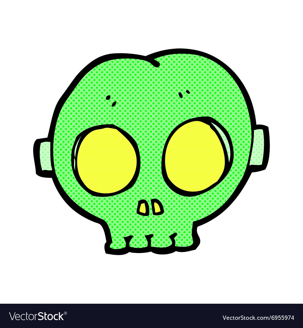 Comic cartoon halloween skull mask vector
