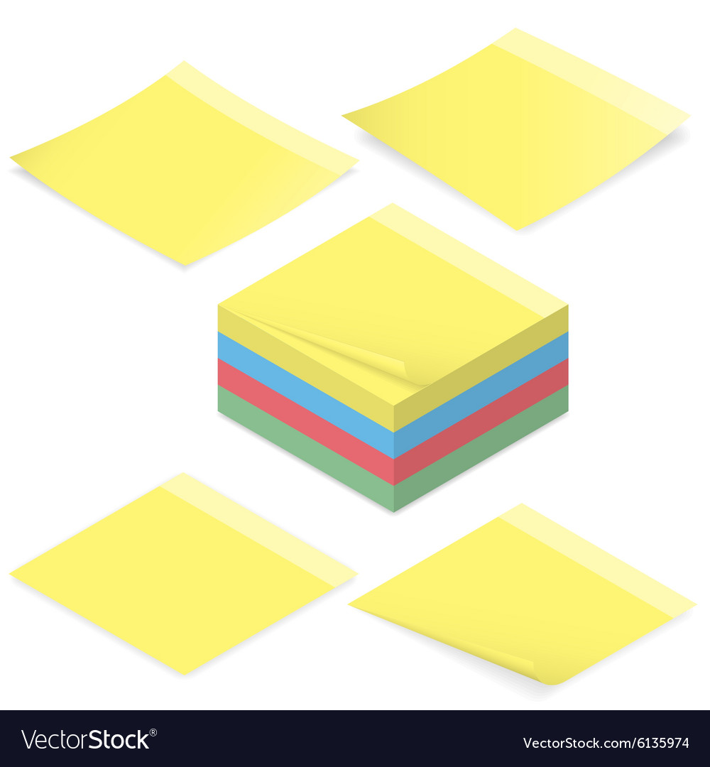 Office stickers for notes isometric icon set vector