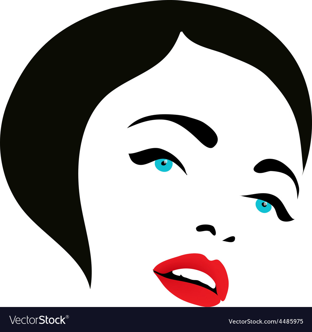 Woman face fashion silhouette icon vector