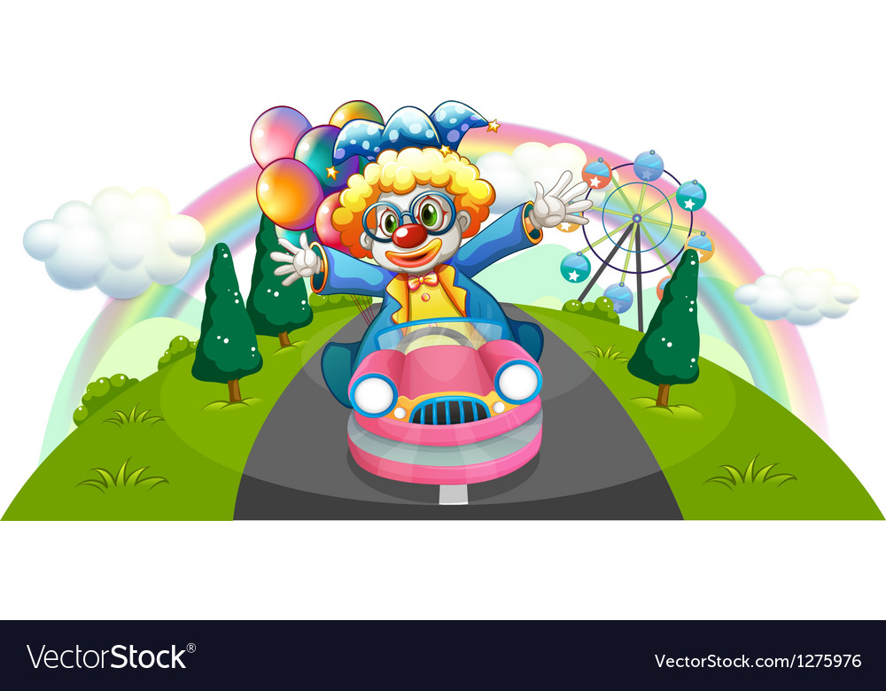 A clown riding in a pink car with balloons vector