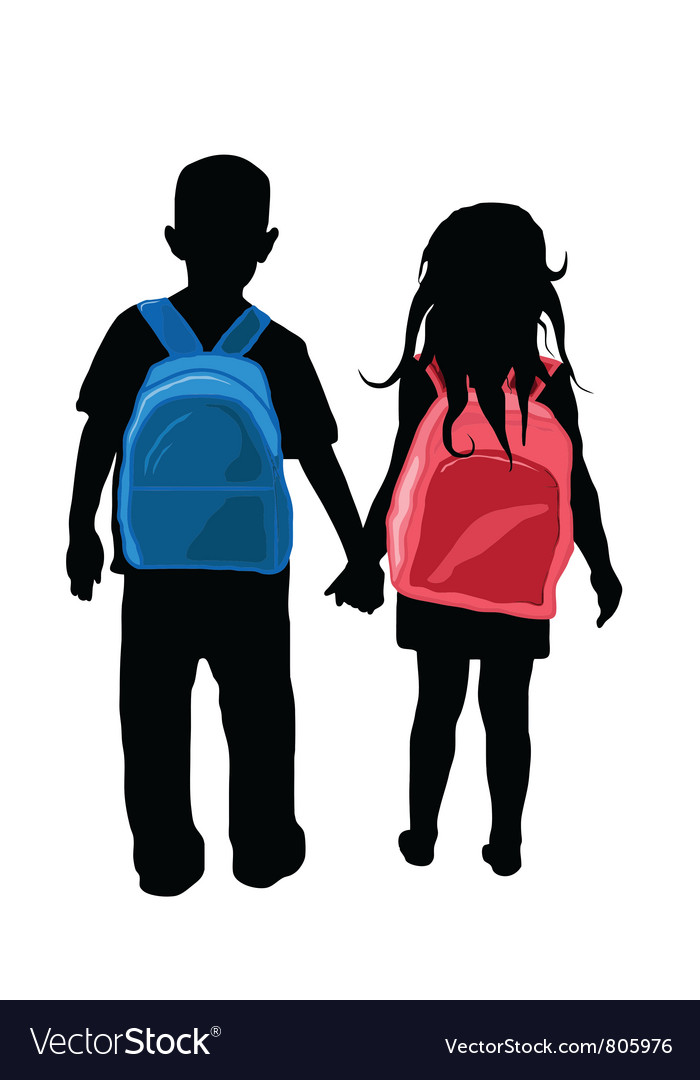 Back to school kids silhouette vector