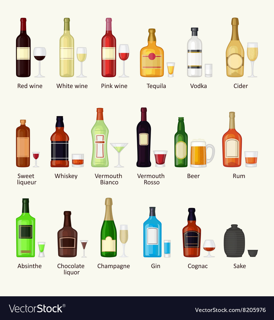 Set of different alcohol drink bottle and glasses vector