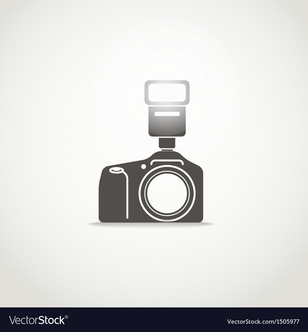Photo camera sillhouette with the flash vector