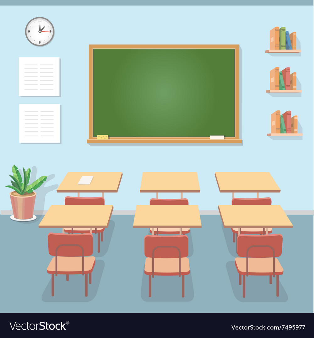 School classroom with chalkboard and desks class vector