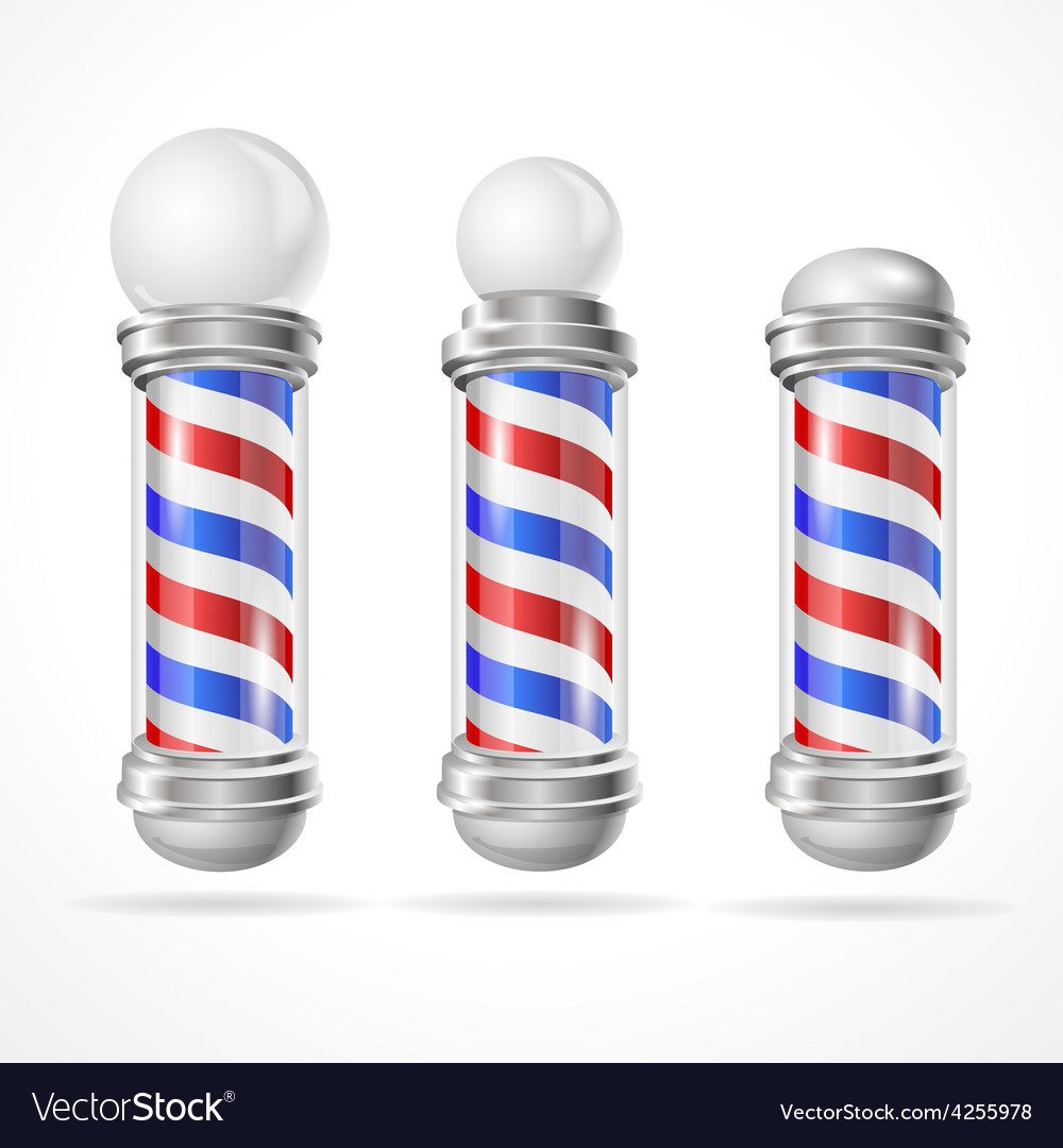 Baber shop pole set vector