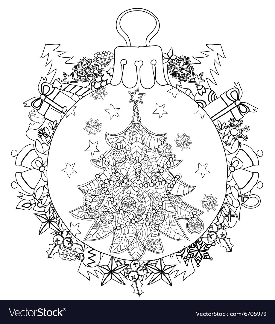 Hand drawn christmas glass ball fir tree doodle vector