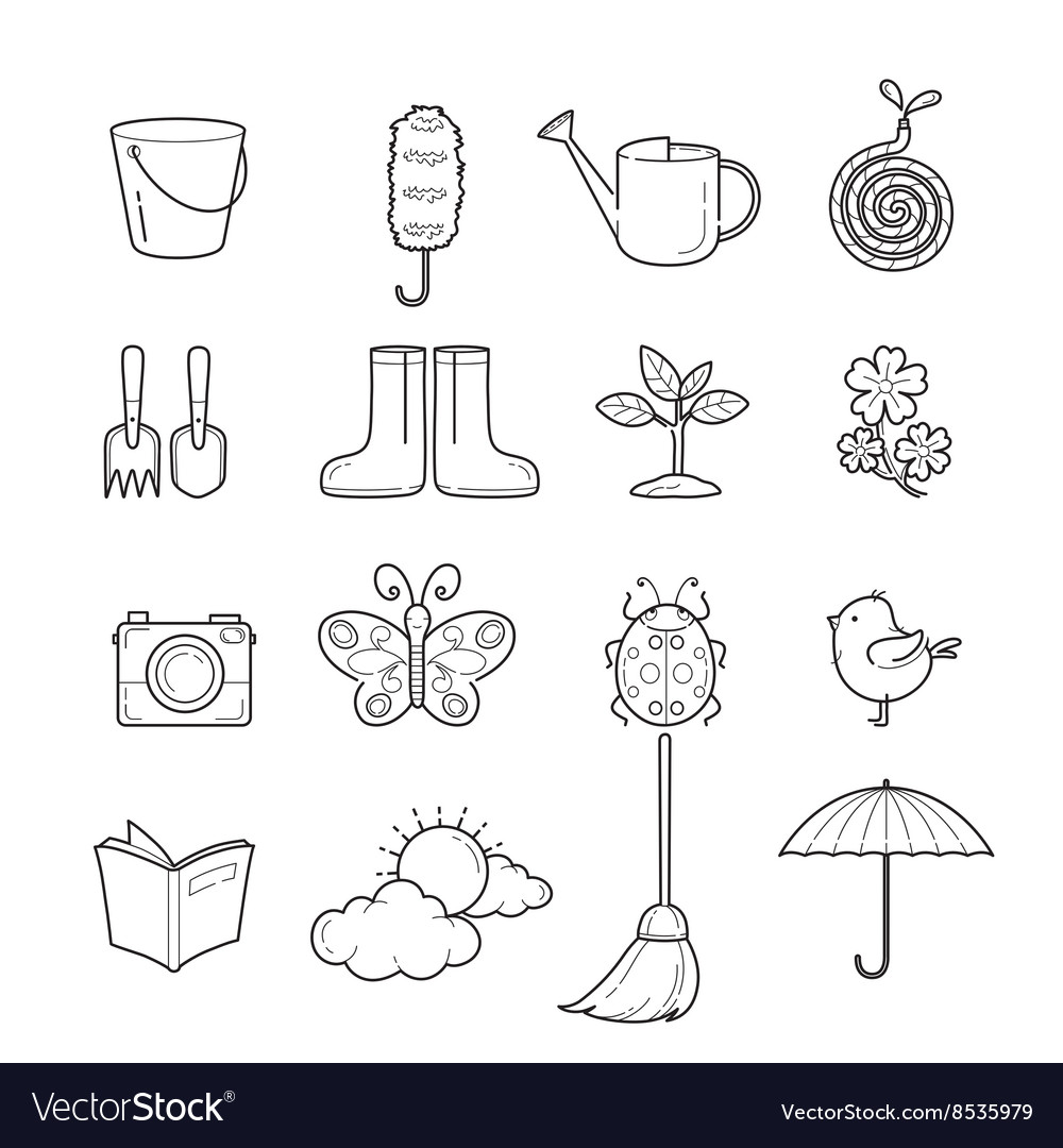 Spring outline icons set vector