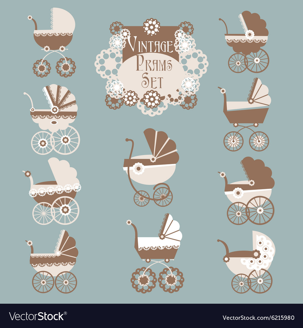 Vintage pramsbaby carriage set vector