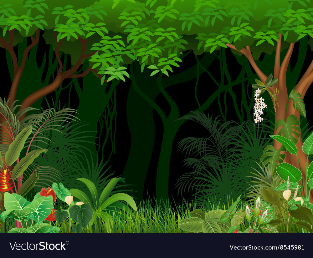 Cartoon of forest background vector