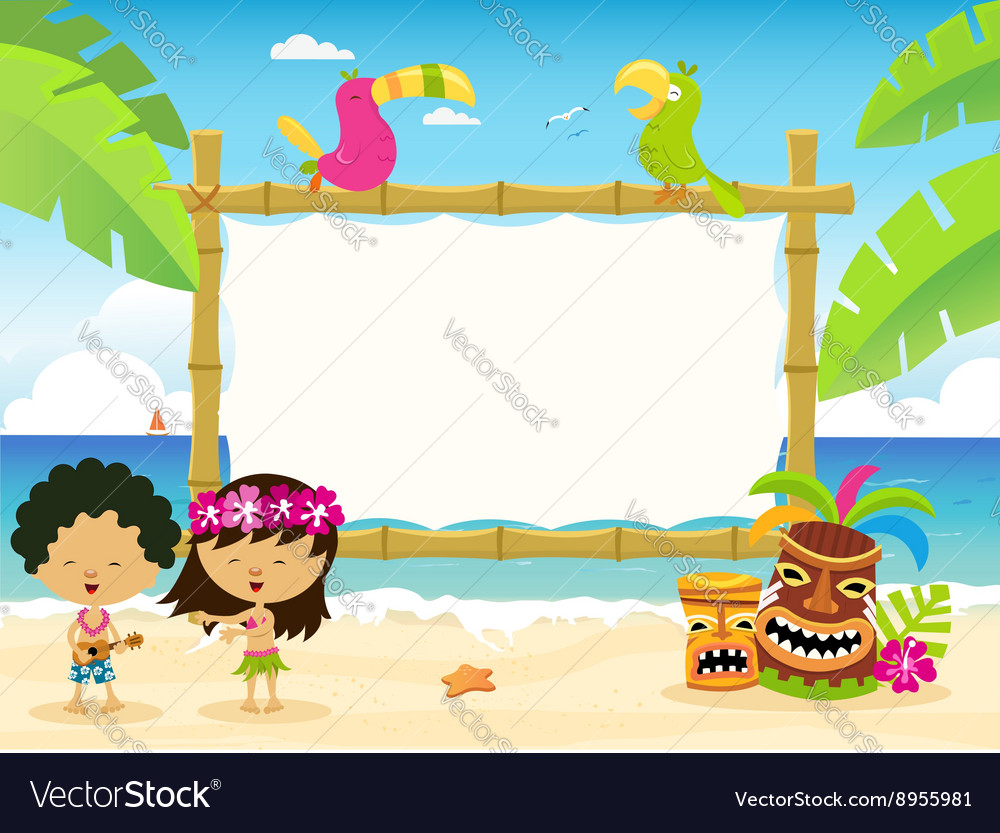 Hawaiian billboard with kids vector