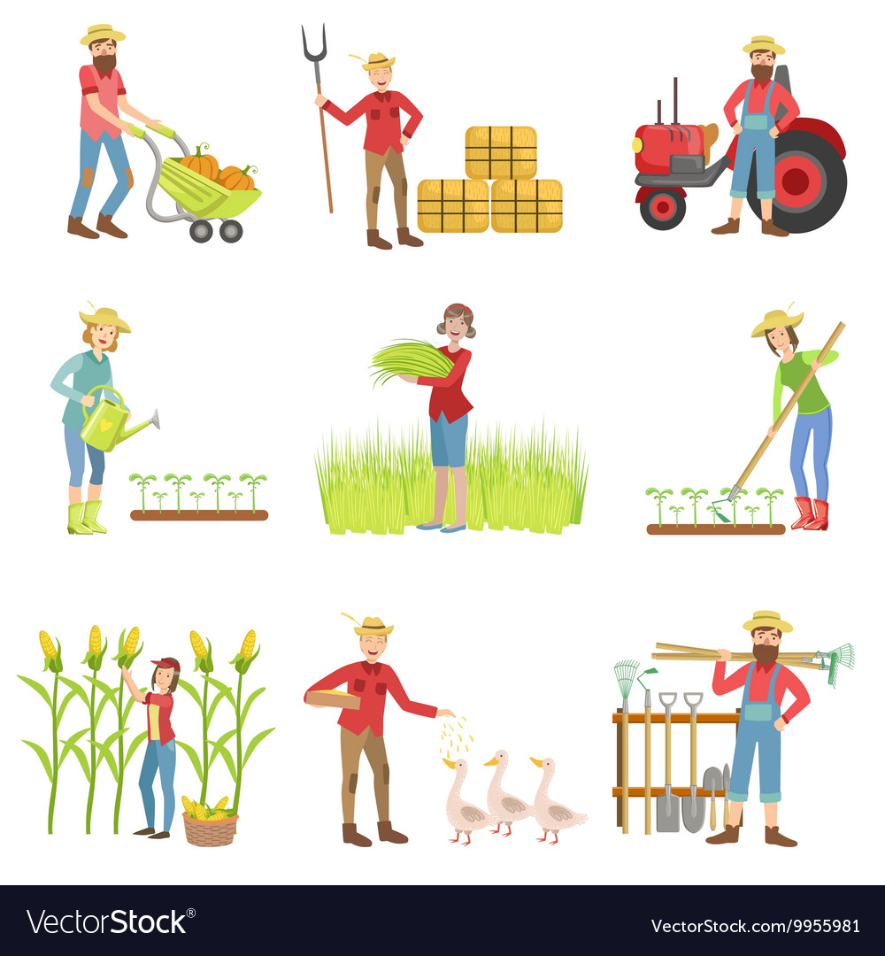 People working on the farm set vector
