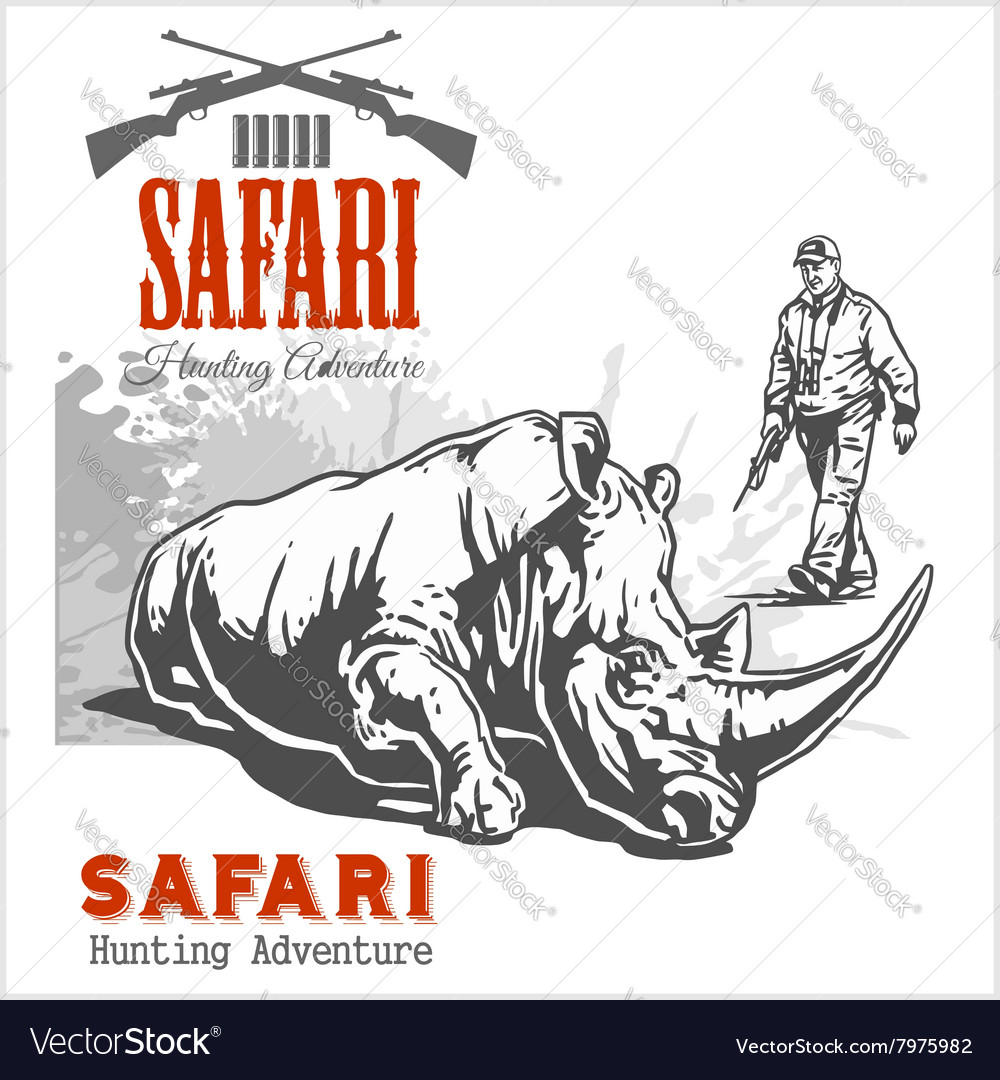 African safari and labels for vector