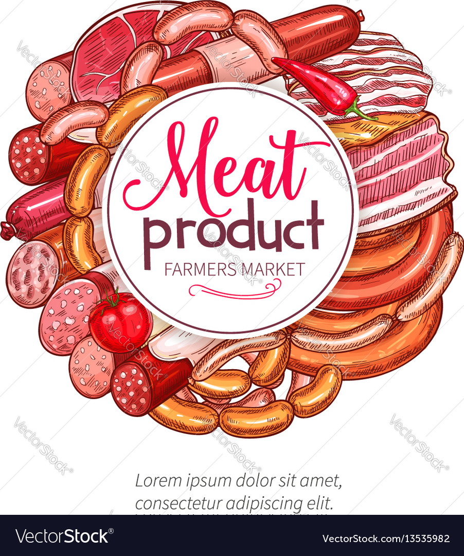 Butchery meat sausage delicatessen poster vector