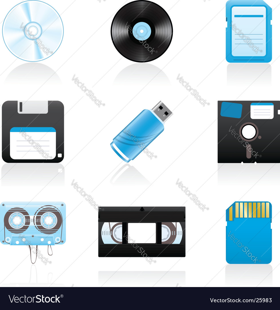 Storage media icons vector