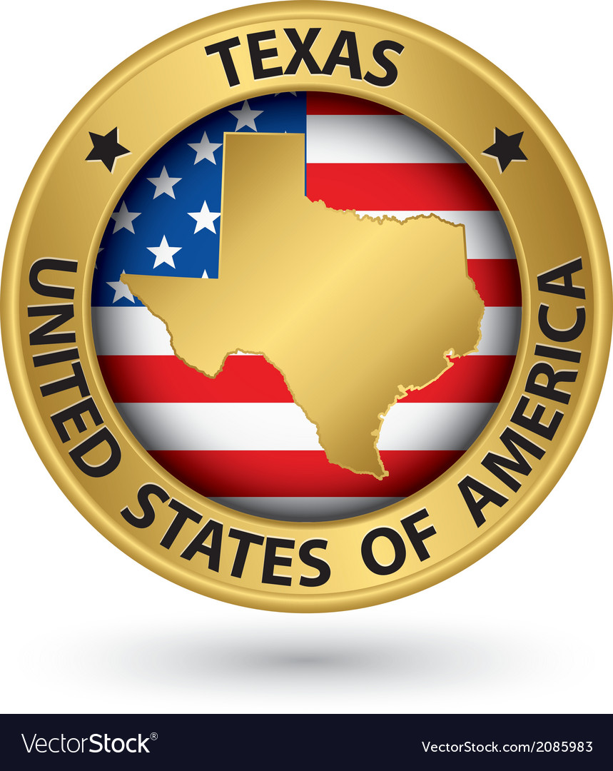 Texas state gold label with state map vector