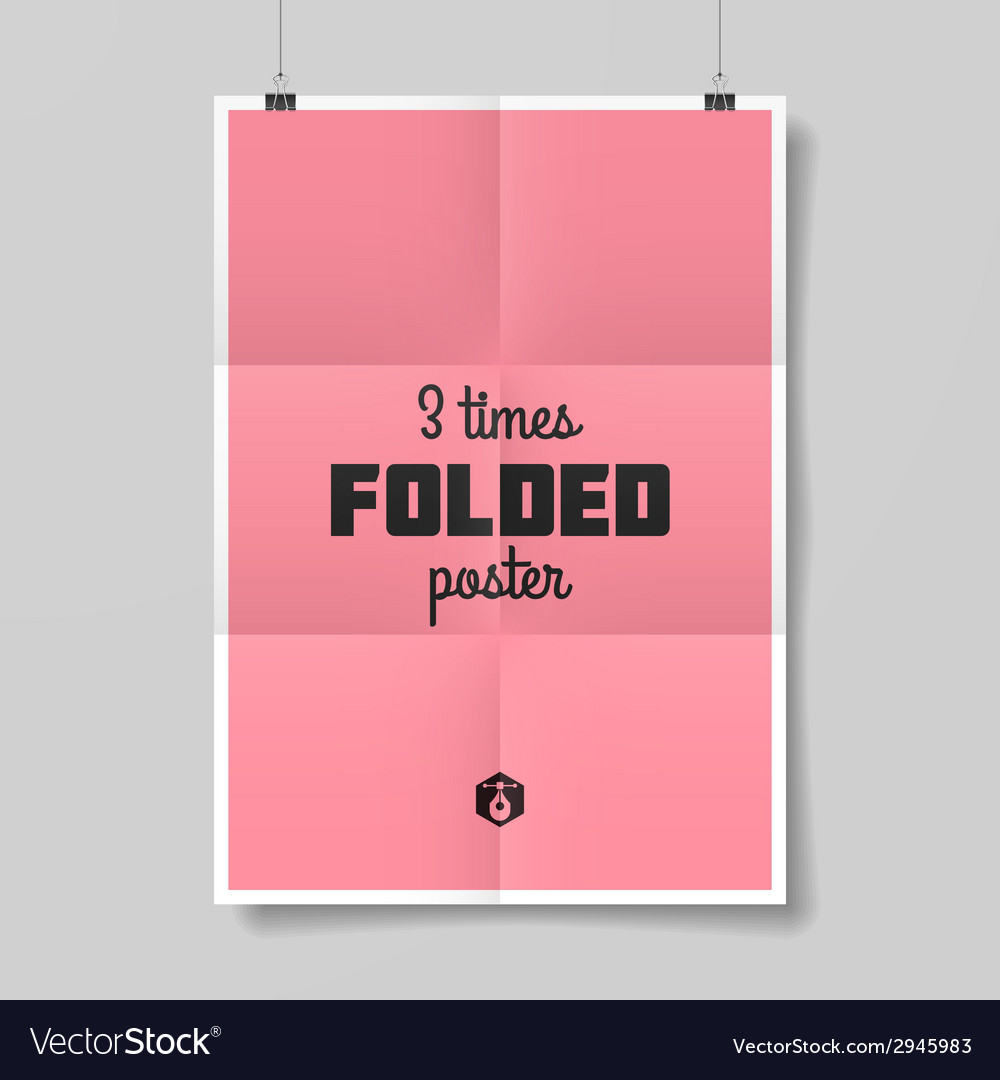 Three times folded poster vector