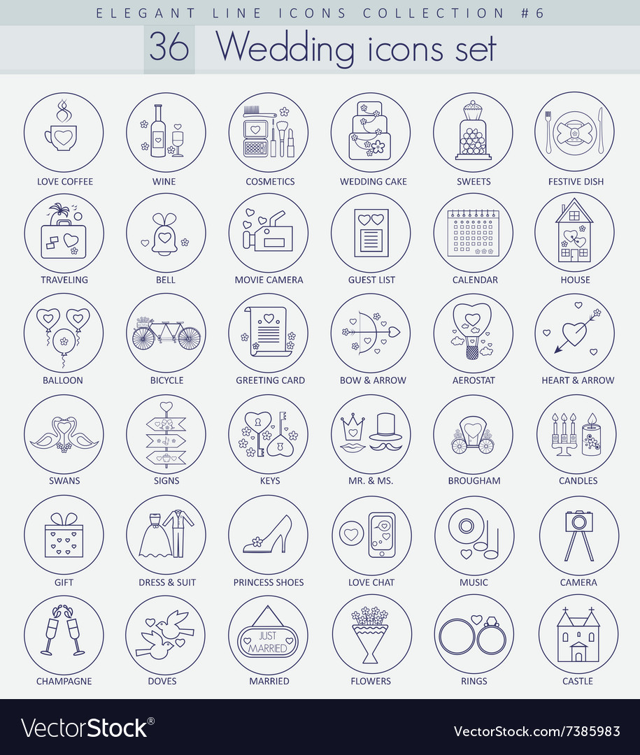 Wedding outline icon set elegant thin line vector