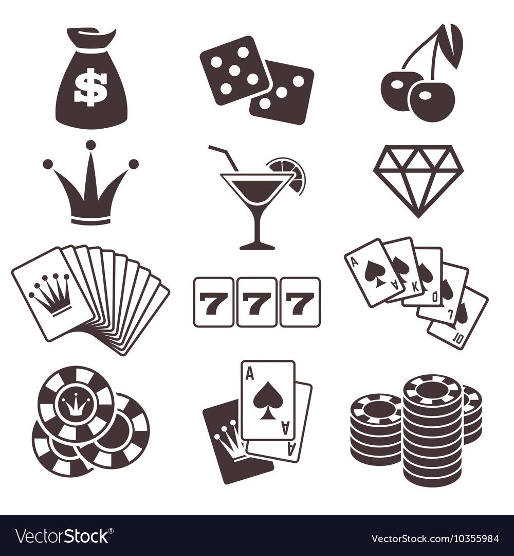 Gambling poker card game casino luck vector