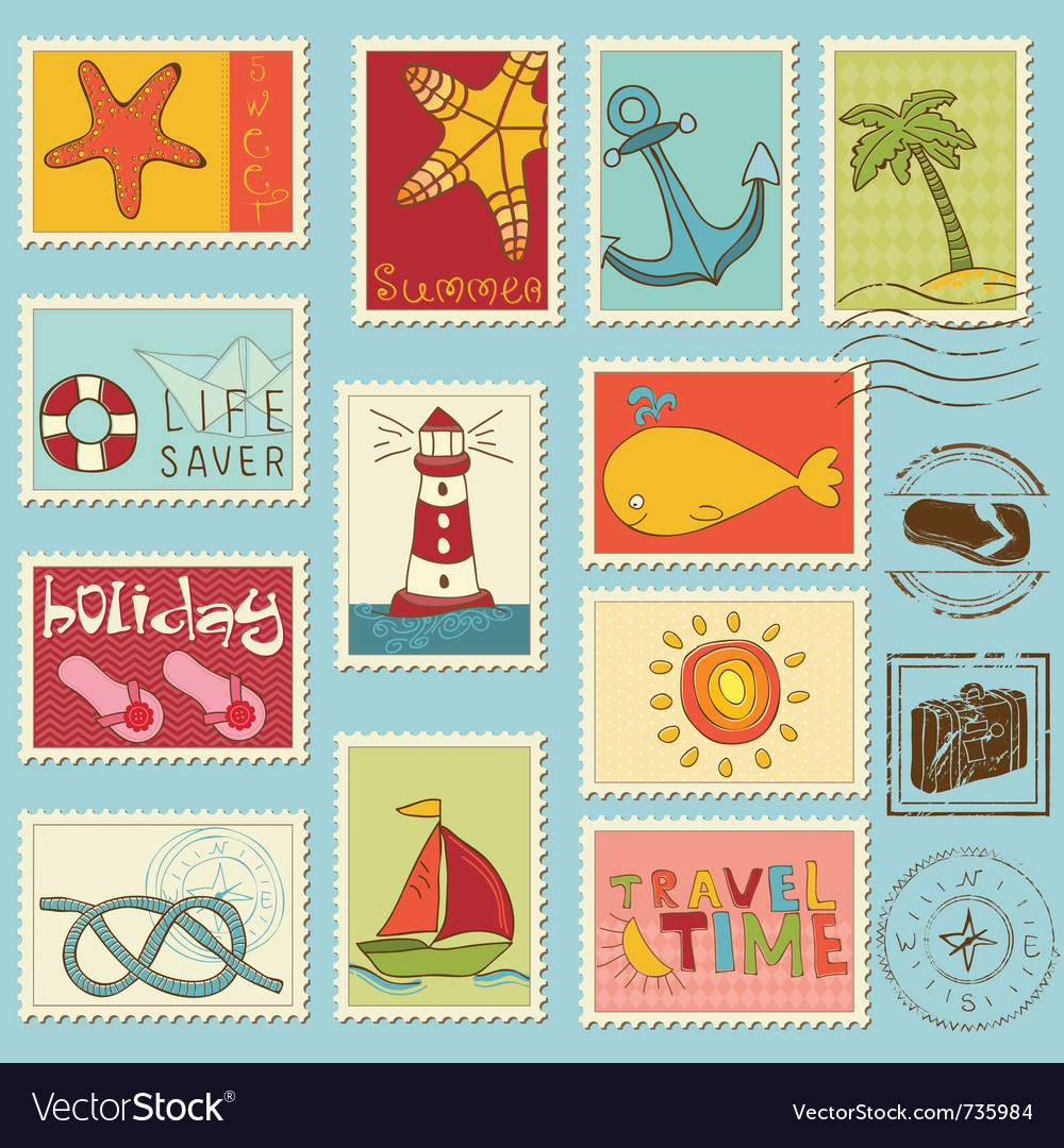 Sea elements  stamp collection vector