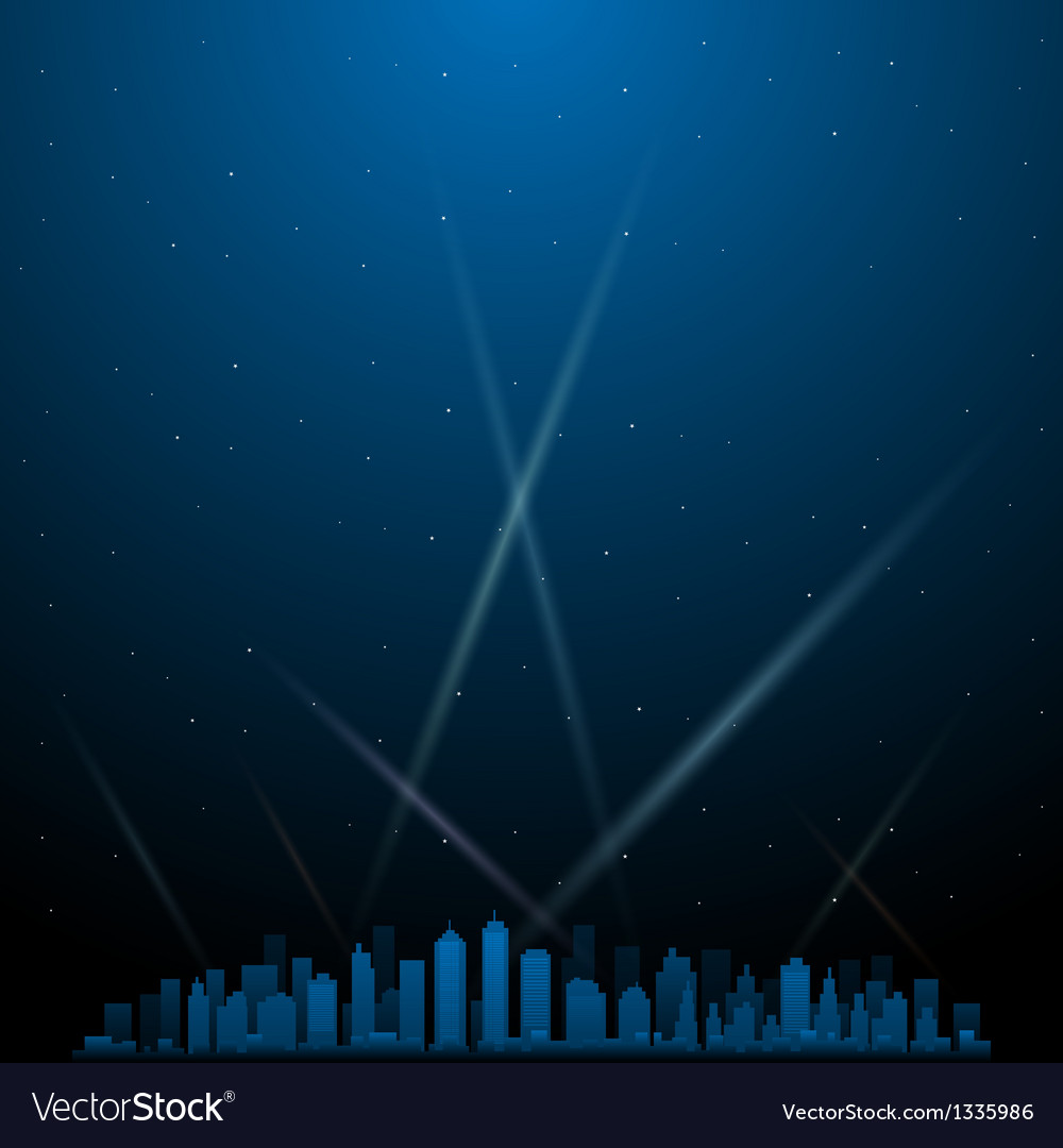 City at night with spotlights in background vector