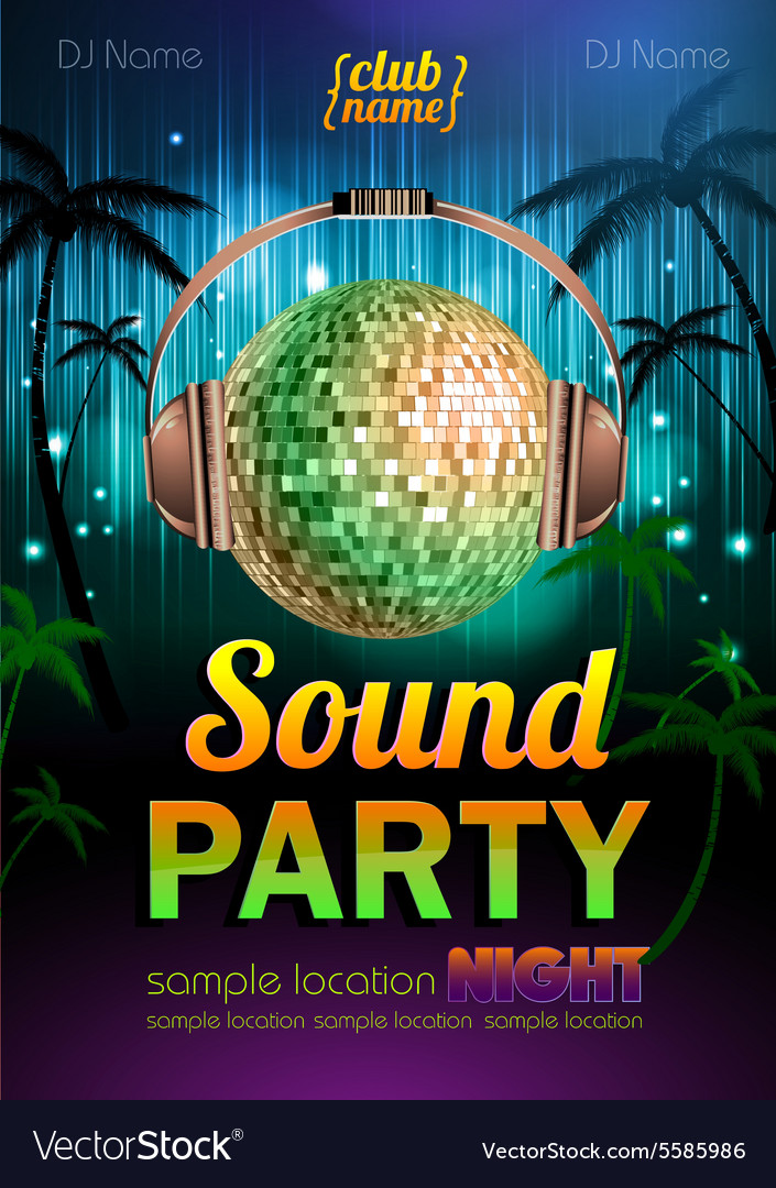 Disco background disco poster sound party vector