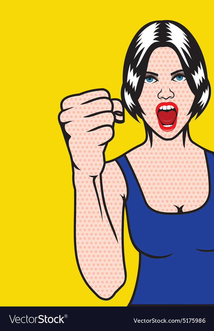 Woman rights pop art girl resize vector