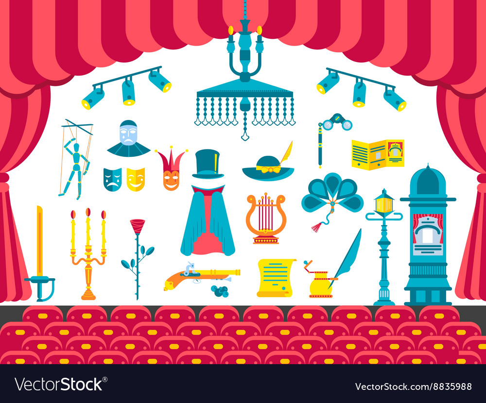 Collection of theater icons items design vector