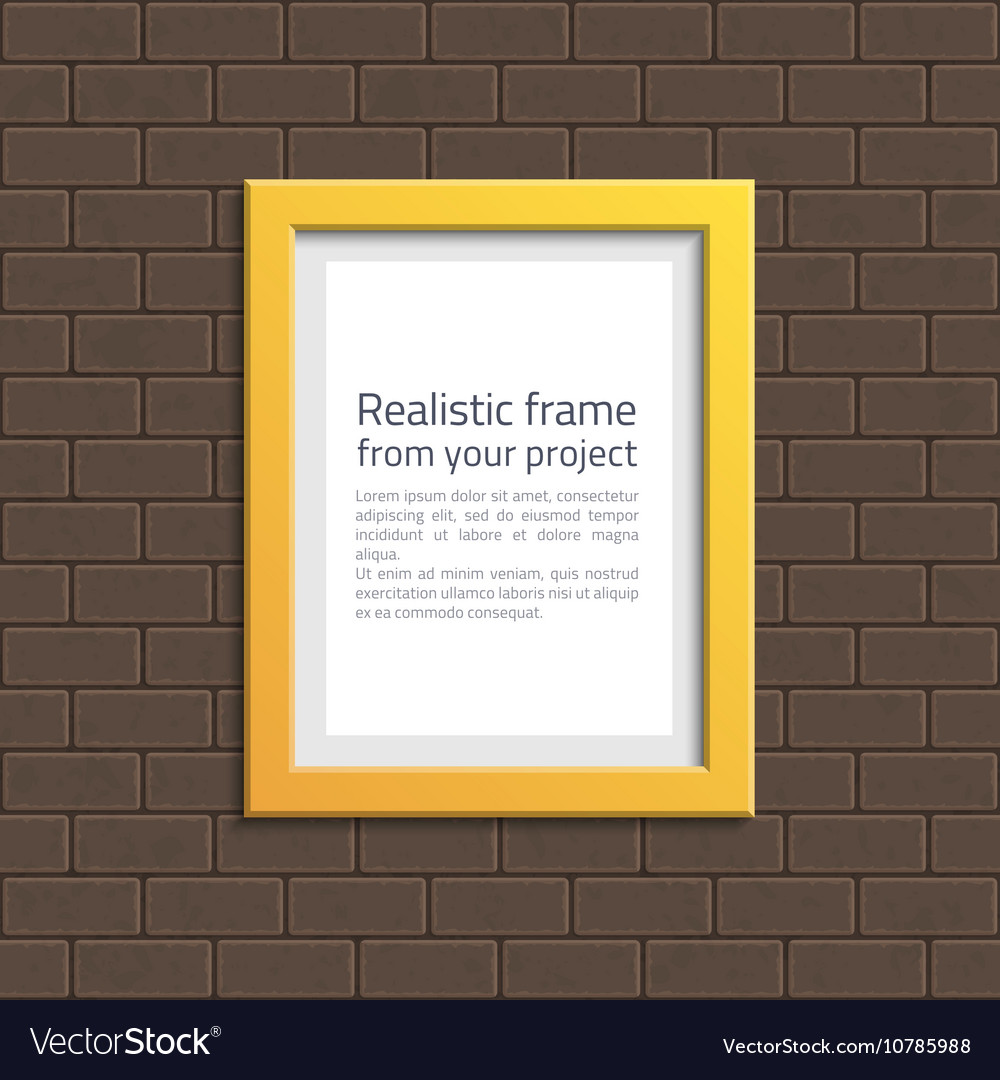 Yellow frame on white brick wall vector