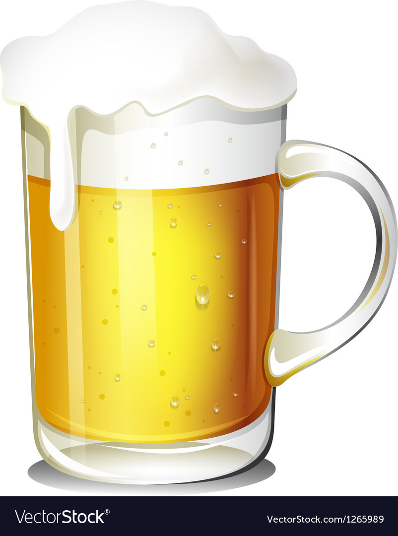 A glass of cold beer vector
