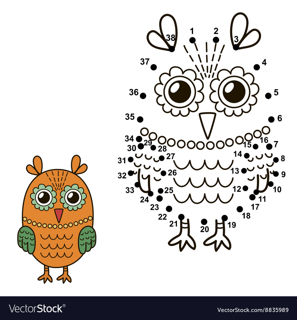 Connect the dots to draw the cute owl vector