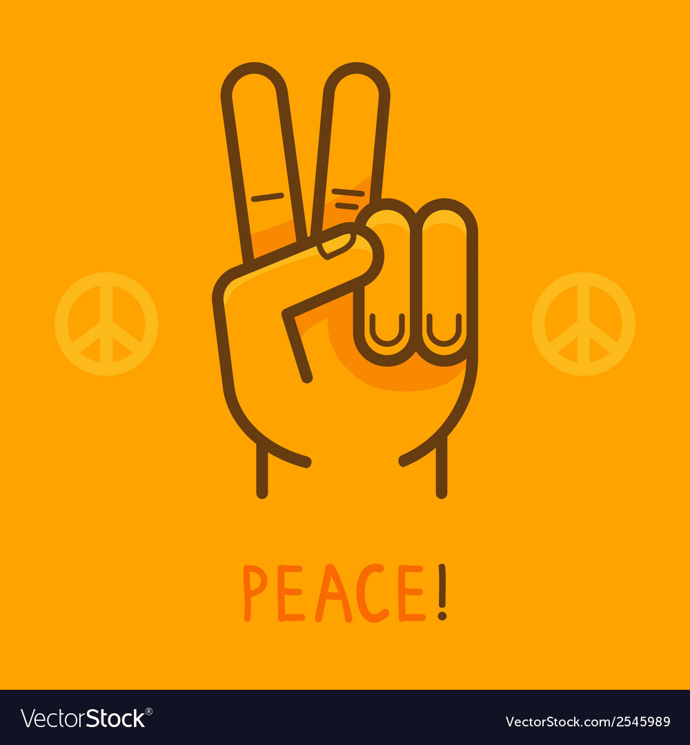 Peace sign  hand showing two fingers vector