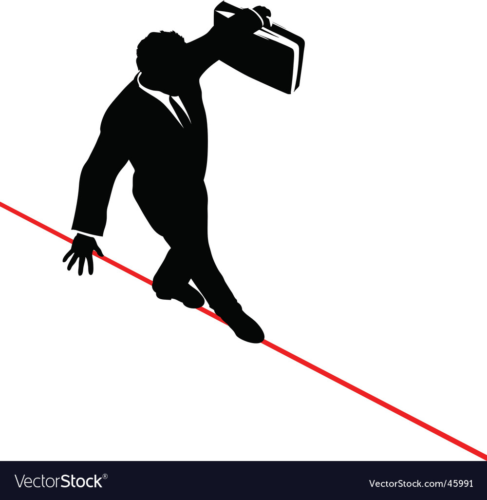 Business man balance risk tightrope vector