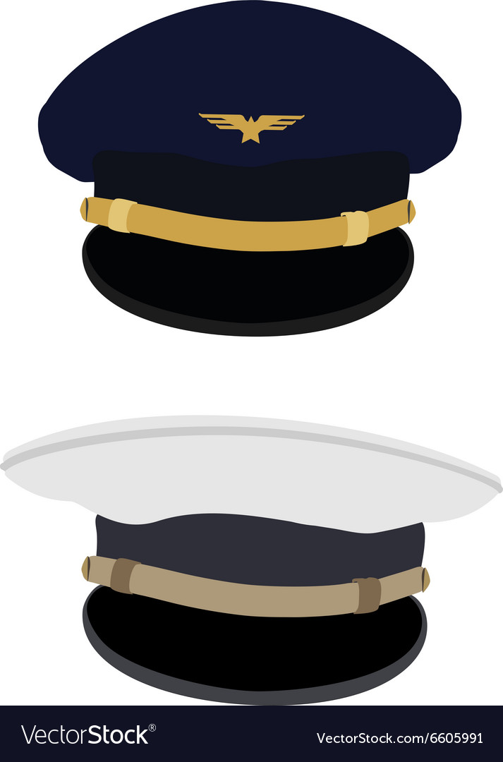 Pilot and navy captain hat vector