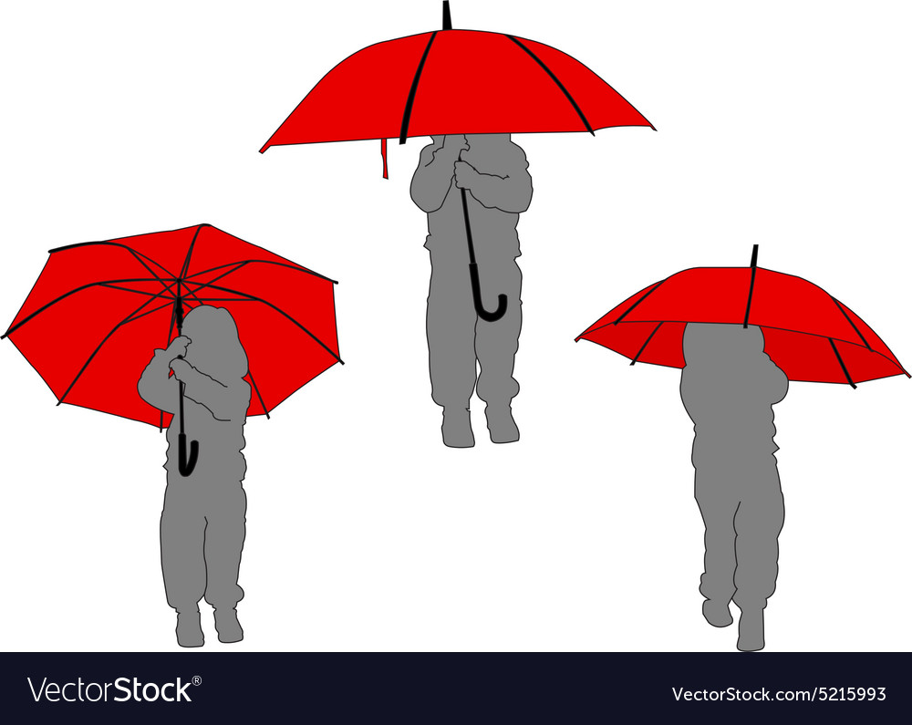 Litlle girl with umbrella  vector