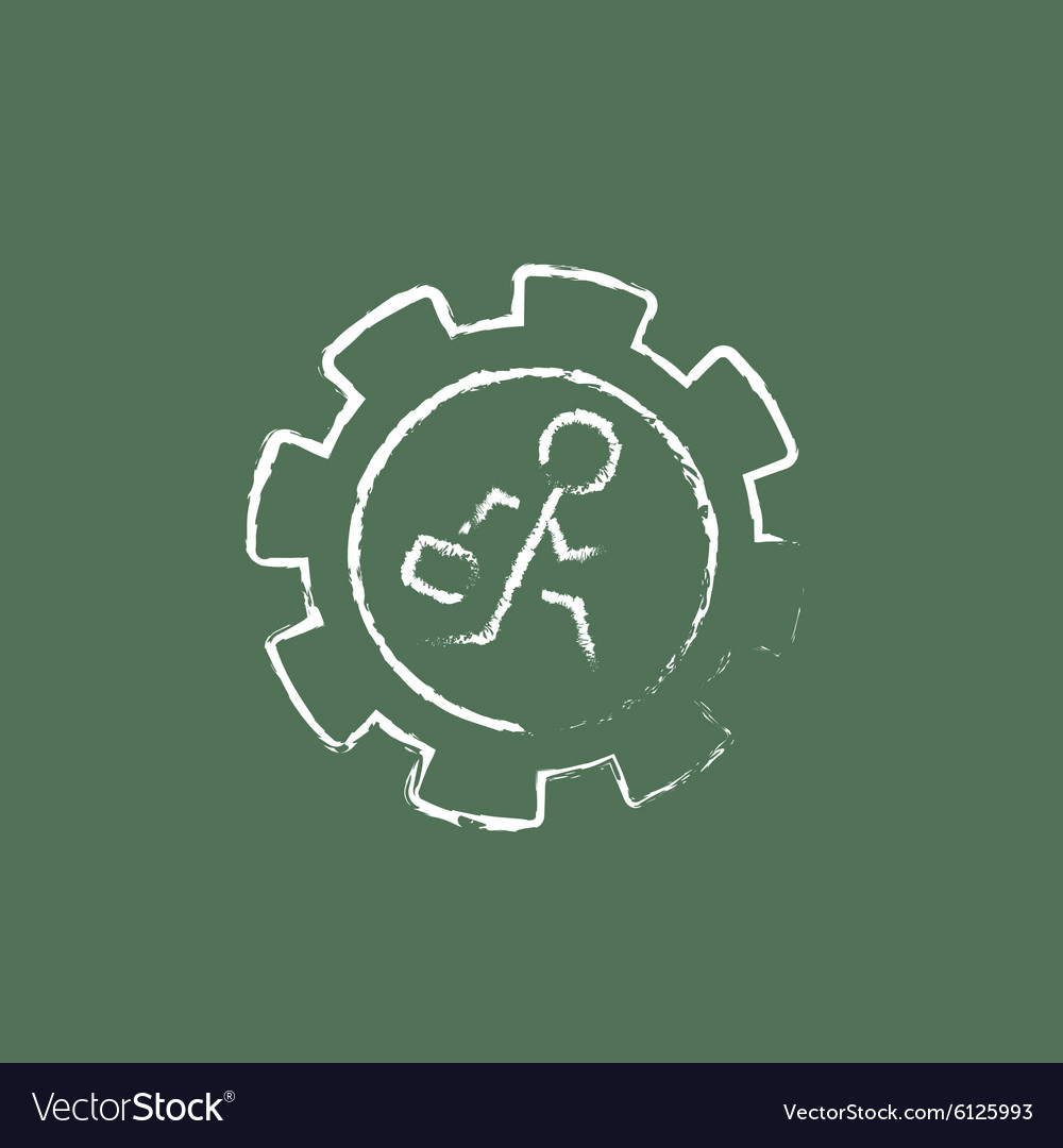 Man running inside the gear icon drawn in chalk vector