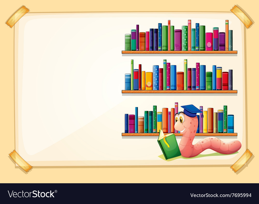 Border design with worm reading book vector