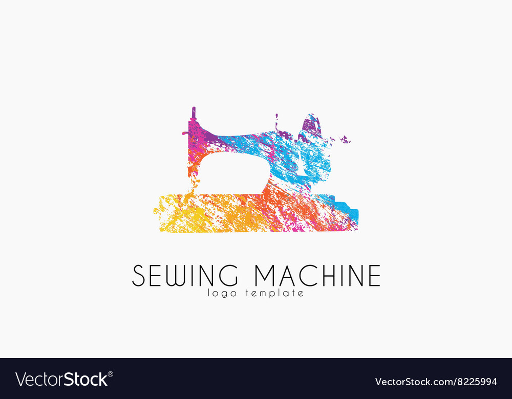 Sewing machine ogo design color sewing machine vector
