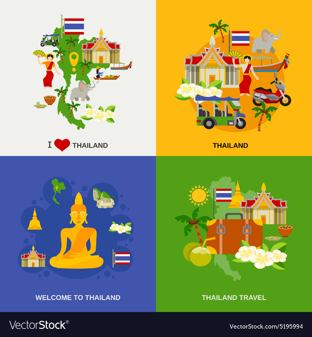 Thailand tourism icons set vector