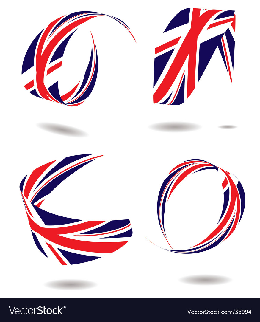 Union flag ribbon vector