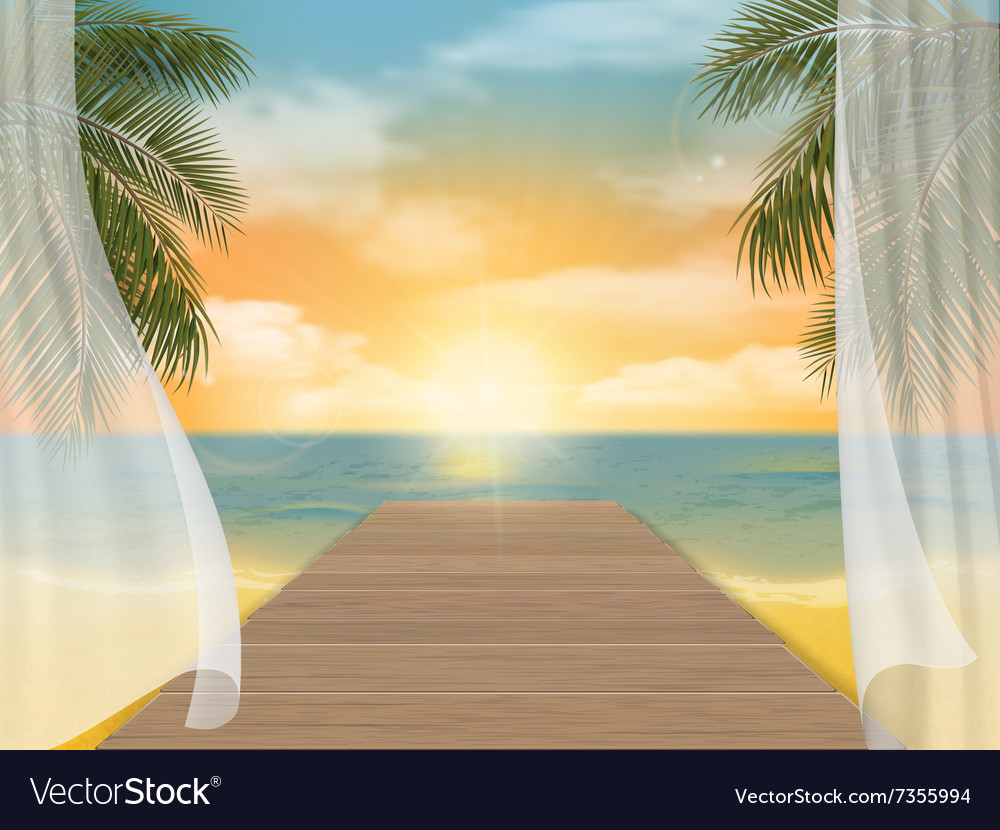 View of the sea beach on sunset vector