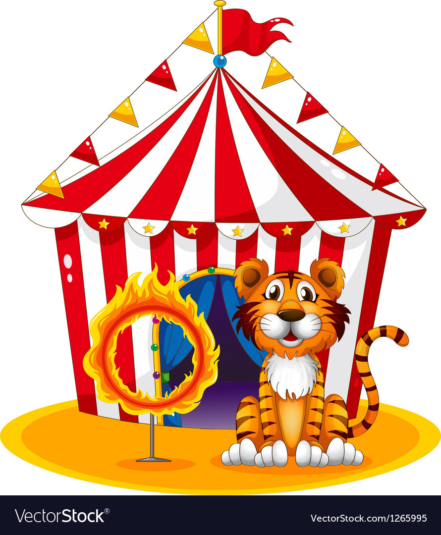 A circus tent at the back of the tiger and the vector